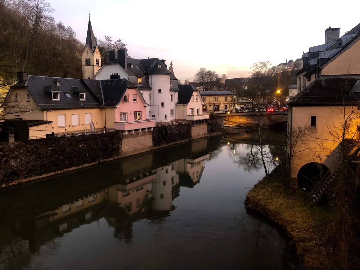 Luxembourg at twilight of Valentine's Day